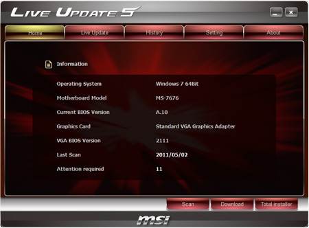 Download MSI Live Update 6 1 008 for free