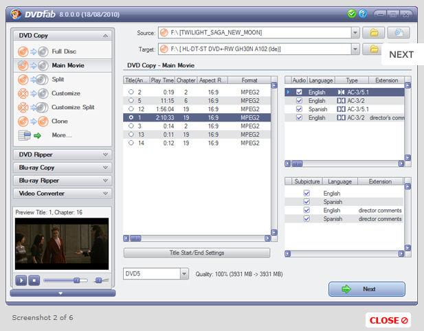 Бесплатно загрузить DVDFab DVD Copy 9.0.4.7 screenshot.