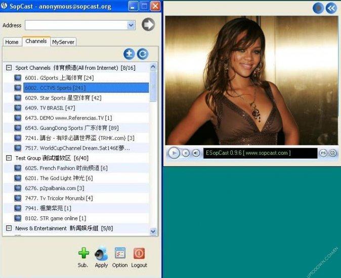 Screenshots of SopCast